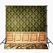 Dark Green Damask Photography Backdrops 5x7 Indoor Palace Wood Floor Photo Background for Wedding Photography Baby Shower Picture