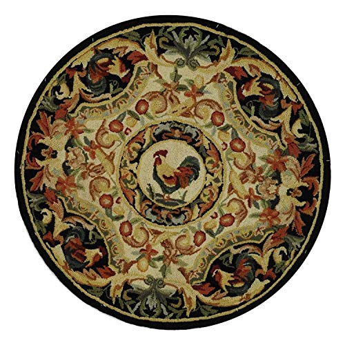 (3ft Round Hen Rug Farmhouse Theme Rooster Motif Black Ivory Circular Area Rug Floral Border Indoor Decorative Circle Floor Mat Carpet for Living Room Entryway Bedroom)