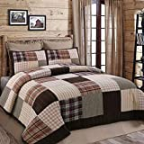 Cozy Line Home Fashions Brody Quilt Bedding Set, Soft Touching Striped Real Patchwork, Red Navy Country Style, Reversible Coverlet, Bedspread Set, Gift for Women (Brown Grid, Twin - 2 Piece)