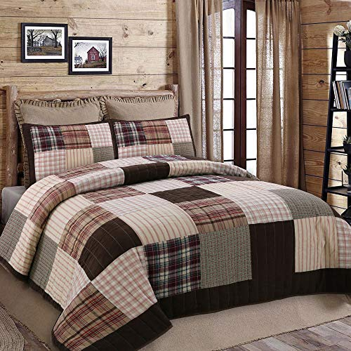 Cozy Line Home Fashions Brody Quilt Bedding Set, Soft Touching Striped Real Patchwork, Brown Plaid Country Style, Reversible Coverlet, Bedspread Set, Gift for Men (Brown Grid, Queen - 3 Piece)