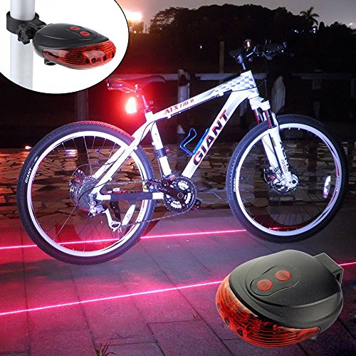 Ultra Bright Bicycle Tail Light Laser Light Waterproof Safety Warning Rear Light Red LED Back Light Flashlight Lamp for Mountain Bike 2 Laser 5 LED 7 Modes (Laser Safety Light)