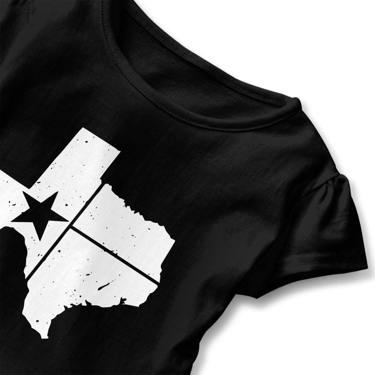 SHIRT1-KIDS Distressed White Texas State Flag Childrens Girls Short Sleeve T-Shirts Ruffles Shirt Tee Jersey for 2-6T