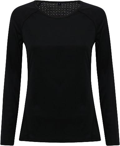 TriDri - Top Camiseta Deportiva de Manga Larga y Cuello Amplio para Mujer señora: Amazon.es: Ropa y accesorios