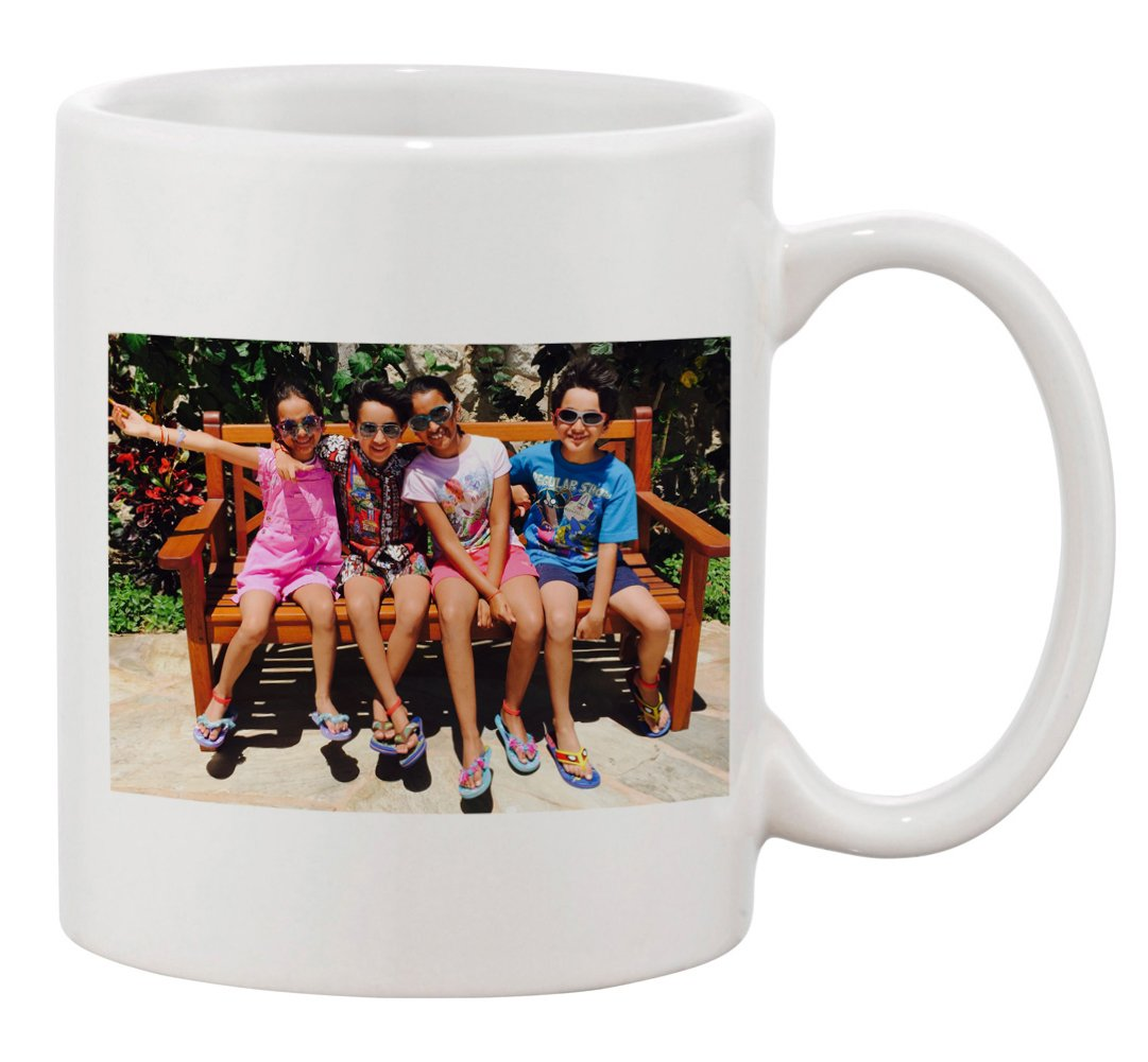 Personalized Add Your Custom Text and Photo White Ceramic 11 Oz Coffee Mug Customizable Gift by Hat Shark (Image #1)