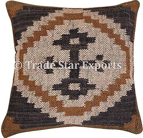 Comercio Star kilim almohada 18 x 18, hecho a mano en India ...