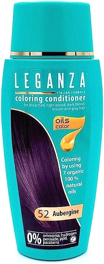Leganza, 7 aceites naturales, bálsamo para el pelo de color berenjena 52