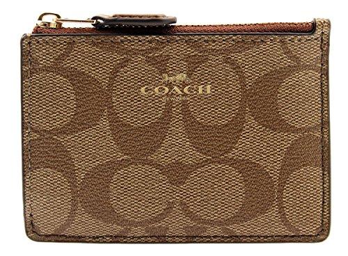Coach Signature Coated Canvas Mini Skinny ID Case in Khaki/Saddle F16107