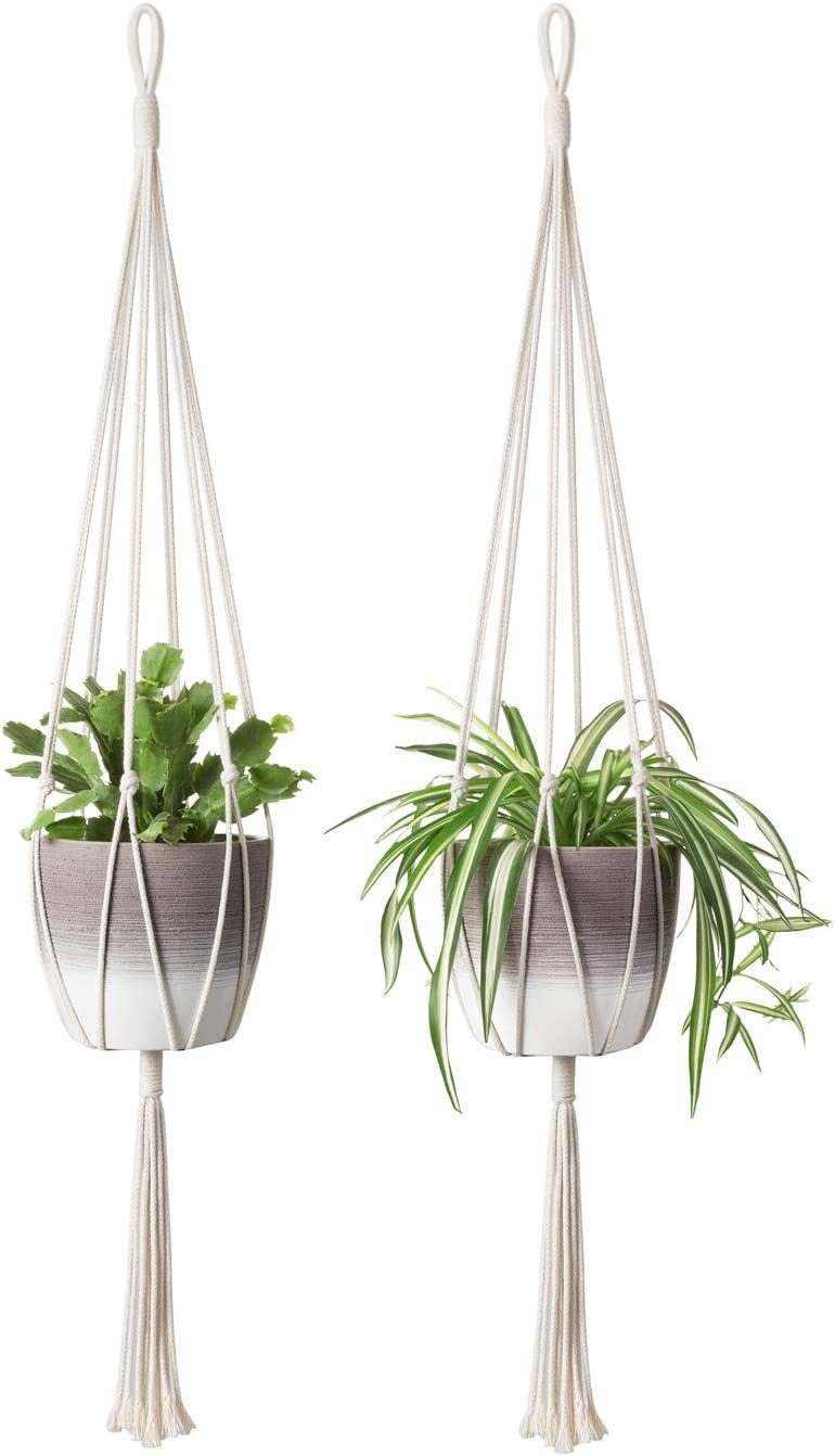 Mkono 2Pcs Macrame Plant Hanger Indoor Outdoor Hanging Planter Basket Cotton Rope Home Decor 40 Inch