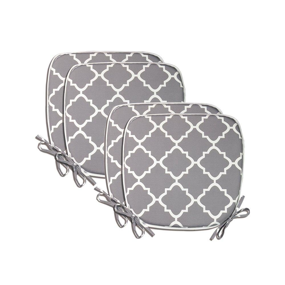Pcinfuns Indoor/Outdoor All Weather Chair Pads Seat Cushions Garden Patio Home Chair Cushions, 17'' X 16'' (Light Grey(4 Set))