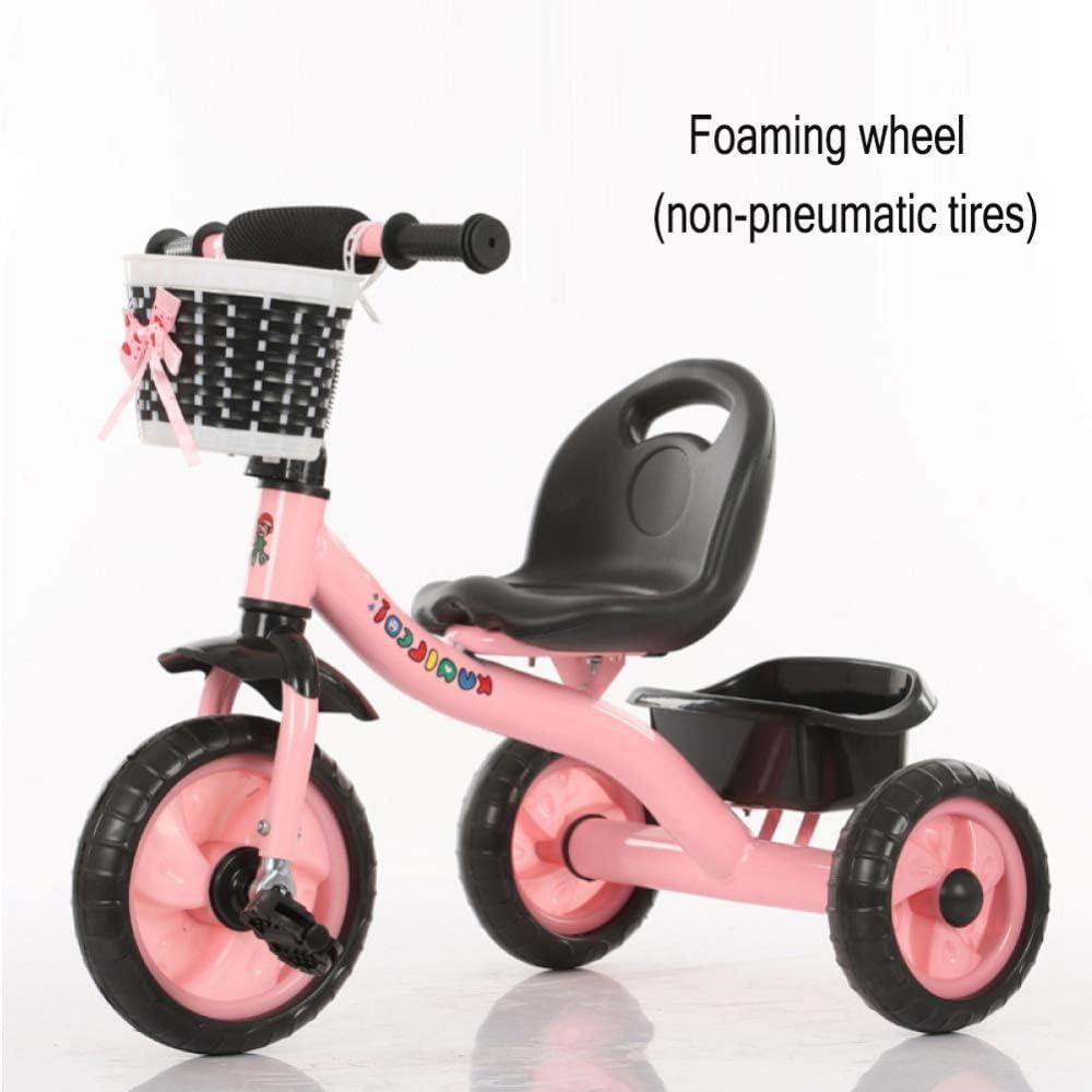 GIFT Triciclo para Niños Bicicleta 3 Ruedas Bicicleta Carrito De Bebé Cochecito, Varilla De Empuje Desmontable, Rueda Suave EVA, 2-6 Años Regalo De Juguete,C