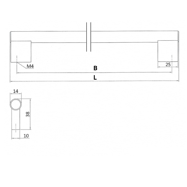 SO-TECH/® G4 Stangengriff Relinggriff M/öbelgriff Edelstahloptik /Ø 14 mm BA 492 mm