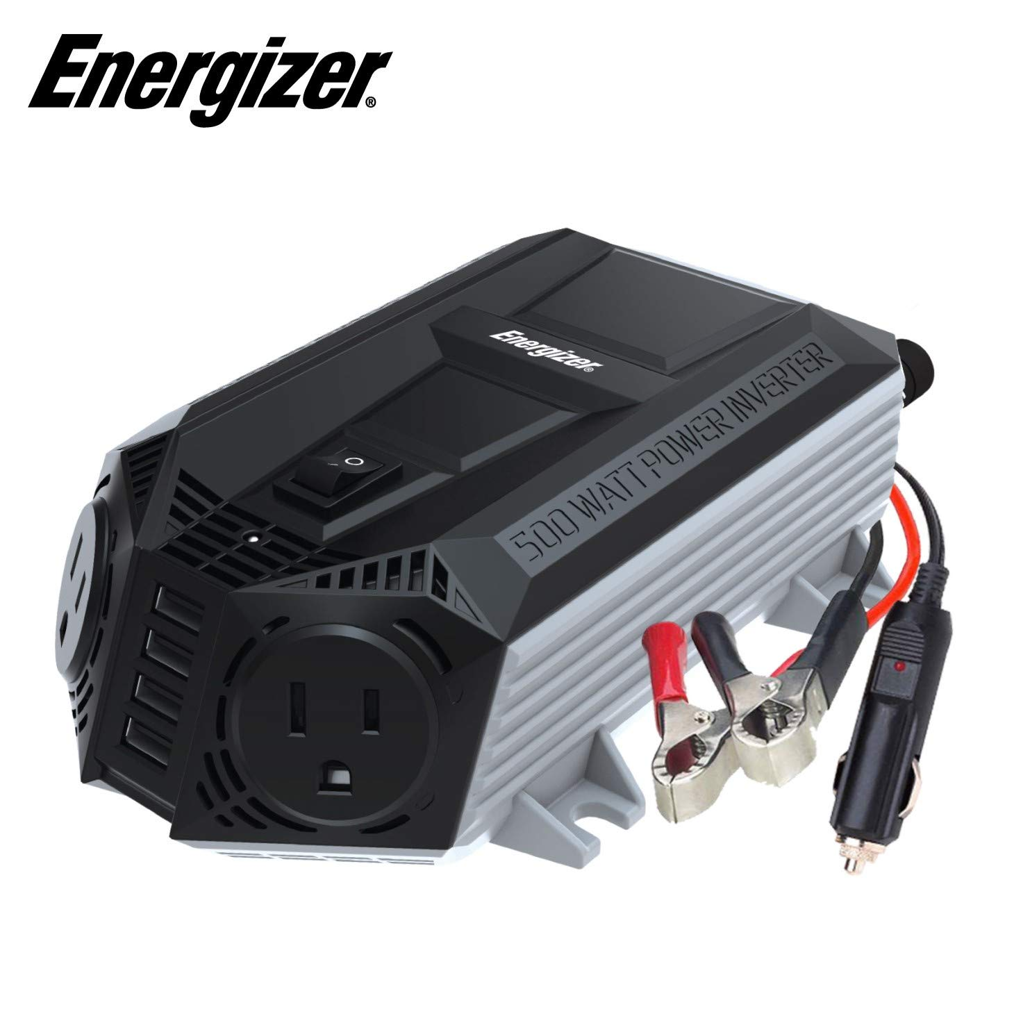 Energizer 500 Watts Power Inverter DC 12V to 110V AC Converter, Modified Sine Wave, Dual 110 Volt AC Outlets, 2.4A USB Ports, Car Adapter and Battery Clips – MET Approved to UL and CSA Standards