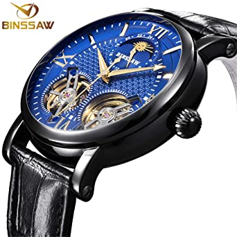 c78575cd9 BINSSAW Men Tourbillon Automatic Mechanical Watch Luxury Brand Leather  Fashion Casual Stainless Steel Sports Watches for