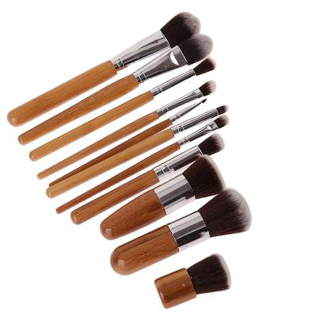 11pcs Bamboo Handle Cosmetic M...