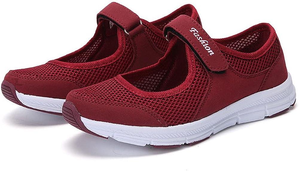 TEBAISE Damen Outdoor Fitnessschuhe Freizeitschuhe Atmungsaktive Mesh Schuhe Sport Slipper Klettverschluss Leicht Weich Flache Halbschuhe Sportliche rutschfeste Running Shock Absorbing Walkingschuhe
