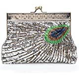 Kisschic Vintage Beaded Sequin Peacock Clutch Purse Evening Bags (Silver)