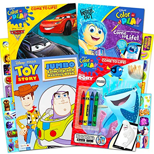 - Disney Pixar Ultimate Coloring Book Assortment ~ 4 Books Featuring Disney Cars, Toy Story, Finding Nemo and More (Includes Stickers)