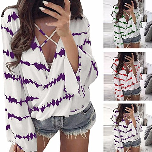 Clearance Sale! Wobuoke Women Loose V Neck Bandage Long Sleeve Shirt Stripe Tops Overlapping Chiffon Casual Blouse