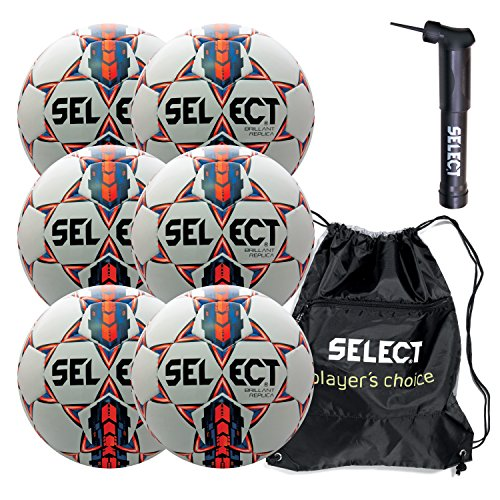 Select Brilliant Super Replica Soccer Ball with Sack Pack & Hand Pump (Pack of 6), White/Blue/Orange, Size 5 (Select Soccer Ball Brilliant)