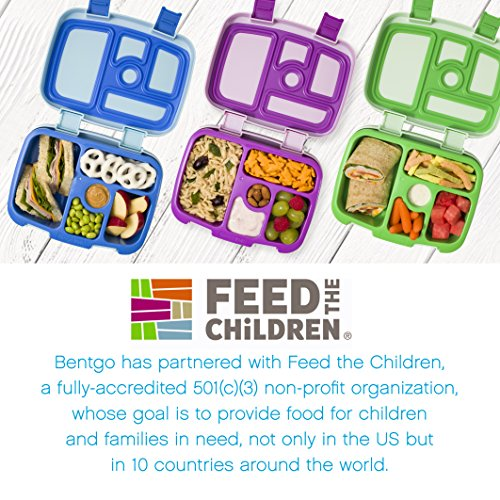 Bentgo Kids Childrens Lunch Box - Bento-Styled Lunch Solution Offers Durable, Leak-Proof, On-the-Go Meal and Snack Packing (Purple) by Bentgo (Image #5)