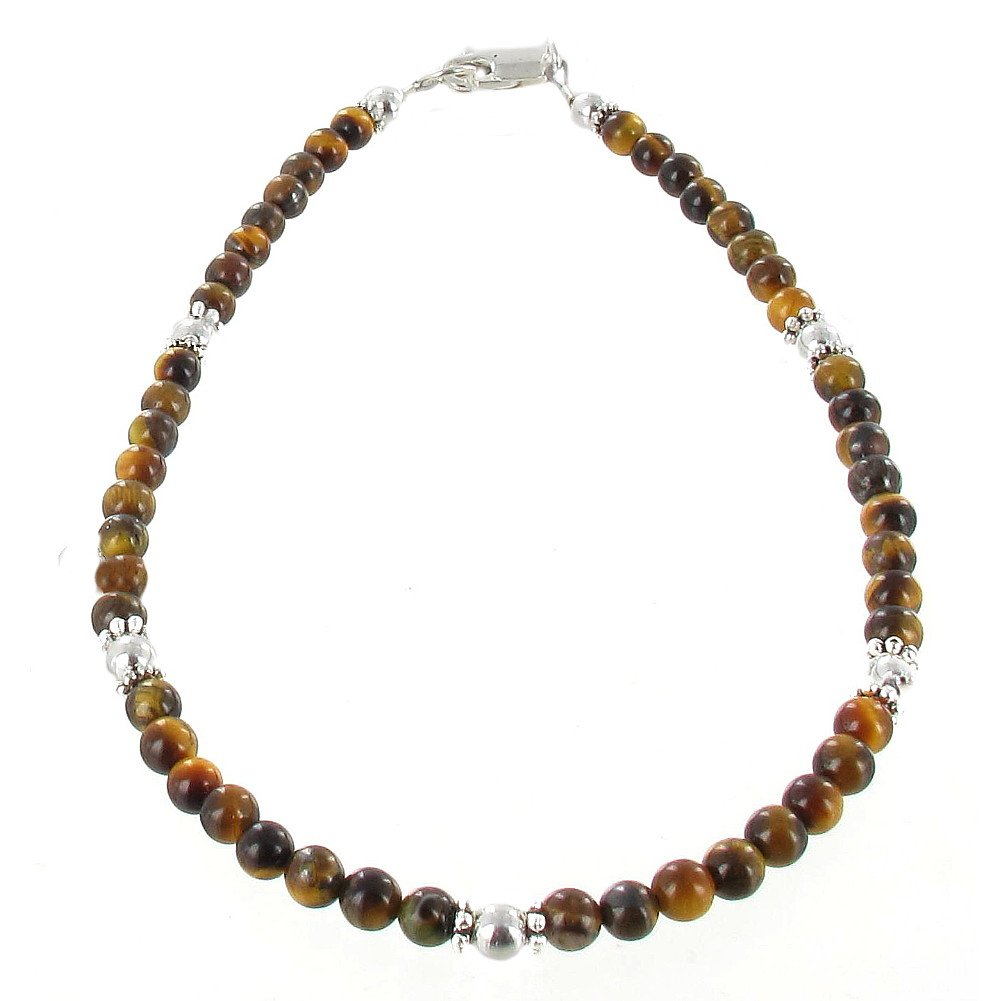 Timeless-Treasures Womens Tiger Eye & Sterling Silver Ladies Beaded Gemstone Anklet with Daisies - 11''