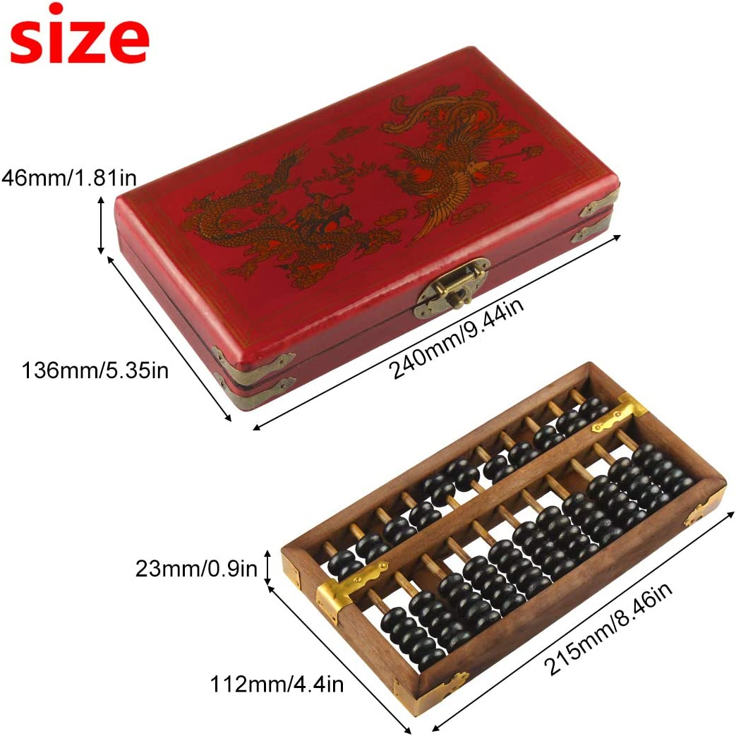 Larcele Invecchiamento Vintage Legno perline Aritmetica Lacca Abacus Materiale Scolastico per Bambini,11 Colonna SP-03