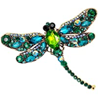 Bullidea Metal Pin Badge Brooch Man-made Diamond Crystal Christmas Festive Brooch Pin Dragonfly Corsage Green for Suit…