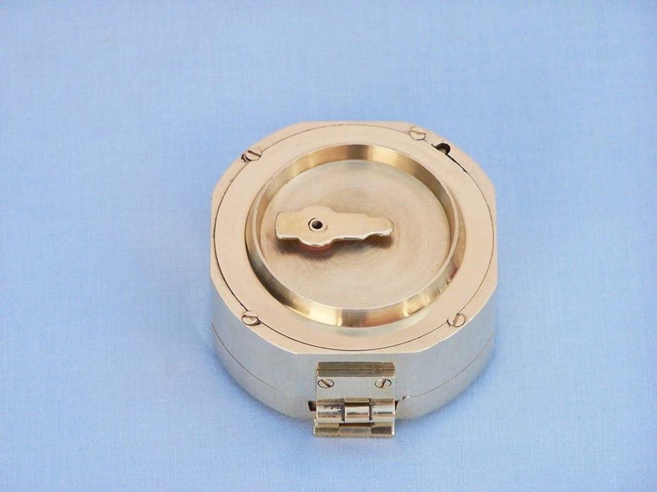 Hampton Nautical 3xglass-101 Chrome Brunton Pocket Transit w//Black Rosewood Box 4-Functional Compass-Unique Gift
