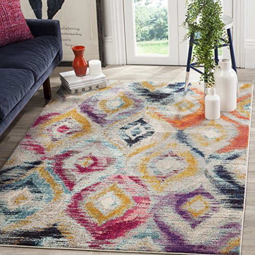 Safavieh Monaco Collection MNC242F Modern Geometric Ogee Watercolor Multicolored Distressed Area Rug (5'1