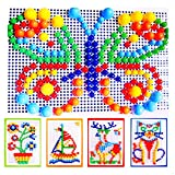 Image of ALLOMN Puzzle Pegboard, 296pcs DIY Mushroom Nails Jigsaw Puzzle Mosaic Pegboard Educational Toys for Children Kids