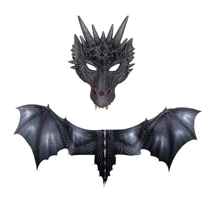 Amazon.com: GXOK Fantasy Halloween Dinosaurio Dragón Máscara ...