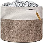 "Goodpick Large Cotton Rope Basket 15.8""x15.8""x13.8""-Baby Laundry Basket Woven Blanket Bas"