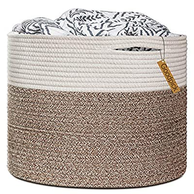 """Goodpick Large Cotton Rope Basket 15.8""""x15.8""""x13.8""""-Baby Laundry Basket Woven Blanket Basket Nursery Bin - 100% cotton rope, healthy material without any chemicals woven basket Soft and firm basket, no collision scratches, perfect to accommodate baby's clothes and other toys in nursery Durable handles design, easy to move and take away, free awesome practical cotton large storage bin for daily use - living-room-decor, living-room, baskets-storage - 61fLraLEXaL. SS400  -"""