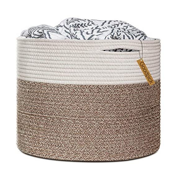"Goodpick Large Cotton Rope Basket 15.8""x15.8""x13.8""-Baby Laundry Basket Woven Blanket Basket Nursery Bin - 100% cotton rope, healthy material without any chemicals woven basket Soft and firm basket, no collision scratches, perfect to accommodate baby's clothes and other toys in nursery Durable handles design, easy to move and take away, free awesome practical cotton large storage bin for daily use - living-room-decor, living-room, baskets-storage - 61fLraLEXaL. SS570  -"