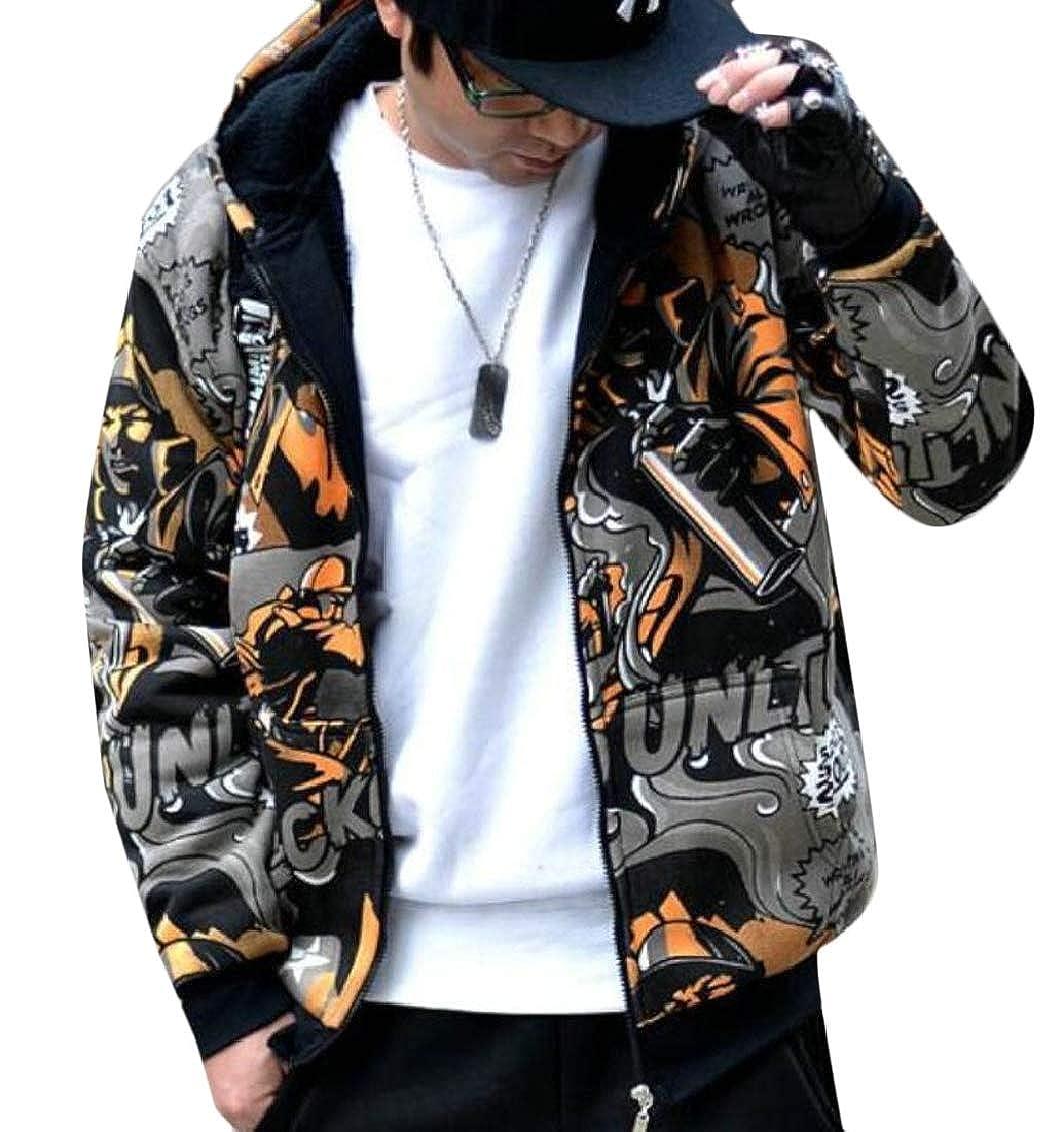 Jaycargogo Mens Big and Tall Patterns Hoodies Hip-Hop Fleece Sweatshirt Jackets