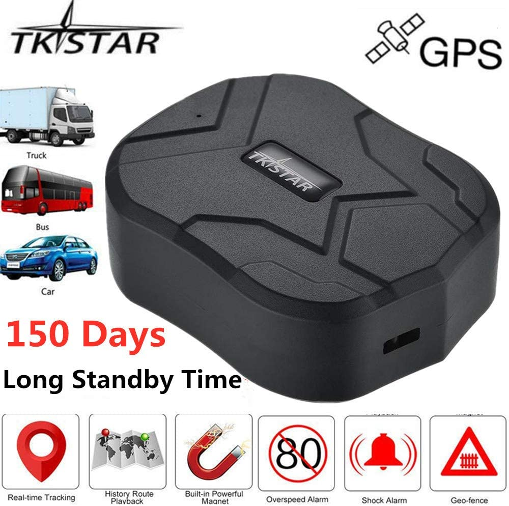 TKSTAR Real Time Vehicle GPS Tracker,150 Day Long Time Standby Waterproof Strong Magnet Car GPS Tracker Tracking Device for SUV Car//BUS//Trucks Fleet Management Support Android and iOS TK905B