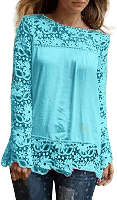 Fashion Women/'s Long Sleeve Shirt Casual Lace Blouse Loose Cotton Tops T Shirt