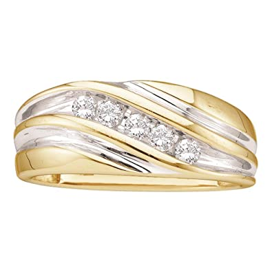 ef270f6c7cf Image Unavailable. Image not available for. Color  Mens Five Stone Diamond  Wedding Band 14k White Yellow Gold Anniversary Ring Round Channel Set 1