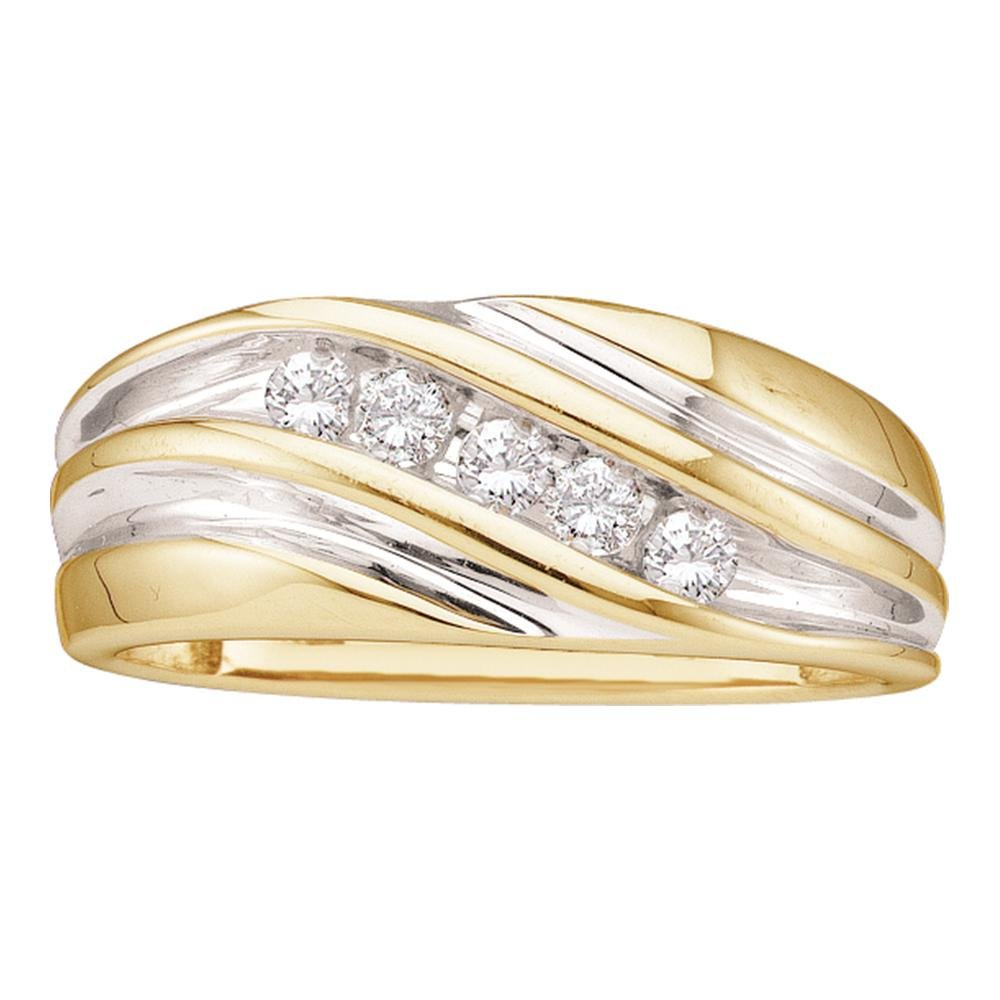 Mens Five Stone Diamond Wedding Band 14k White Yellow Gold Anniversary Ring Round Channel Set 1/4 ctw by GemApex