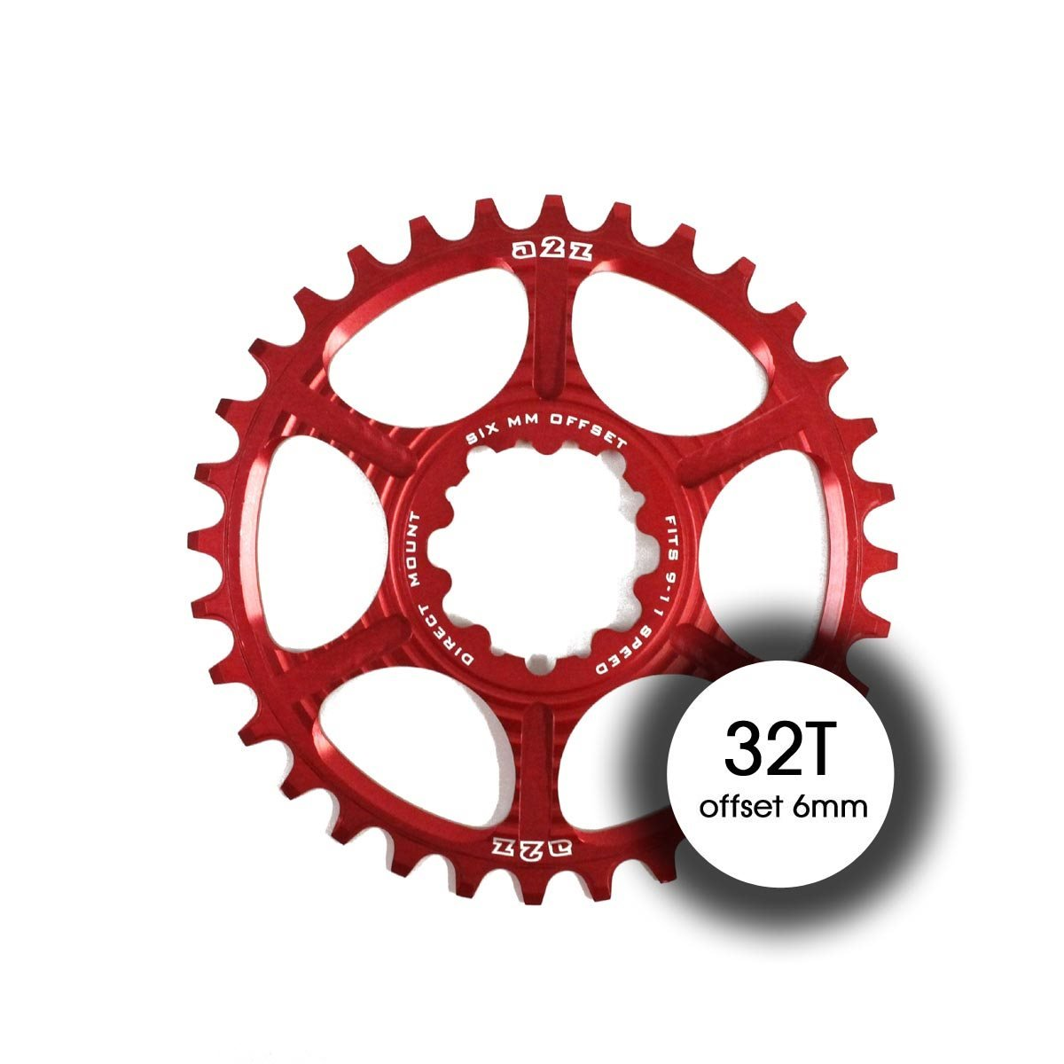 A2Z Corona Direct Mount 32T Offset 6mm 9–11vel Rojo (monocorone)/Chainring Direct Mount 32T Offset 6mm 9–11sp Red (narrow-wide)