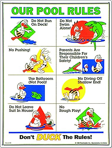 Poolmaster Sign for Residential or Commercial Swimming Pools, Our Pool Rules Duck Animation
