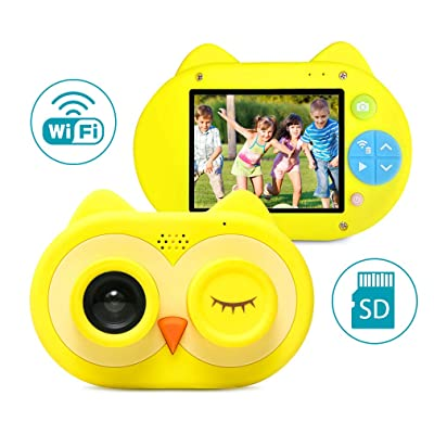 "Child Digital Camera, Kids WiFi Video Camera with 2"" IPS Screen and 16GB TF Card, 8.0MP Mini Rechargeable Children Camcorder Gift for Little Girls, Boys (Yellow) : Electronics"