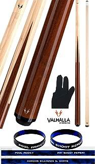 product image for Valhalla VA241 by Viking 2 Piece Pool Cue Stick 4 Splice Point Construction Exotic Wood 18-21 oz. Plus Billiard Glove & Bracelet