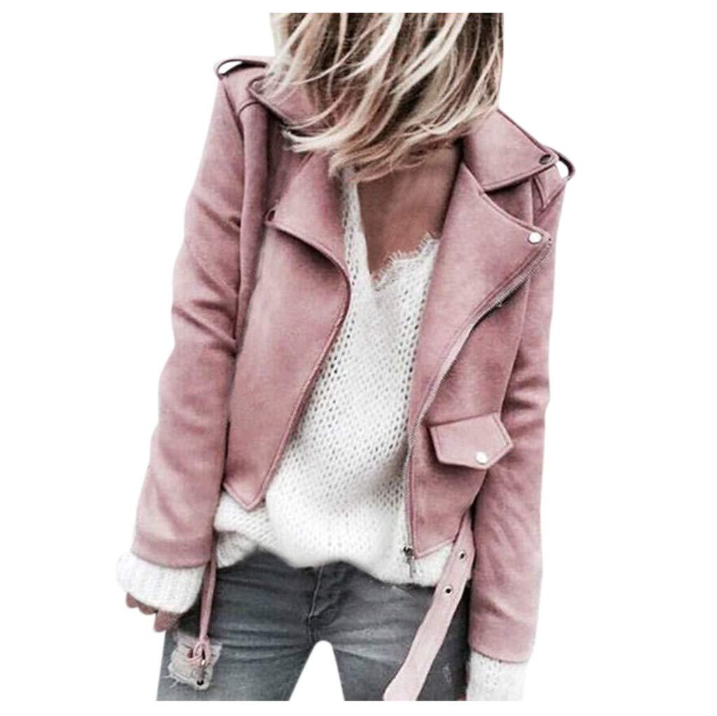 Alangbudu Women Turn Down Collar Faux Belted Shrug Skew Zipper Coat Long Sleeve Cropped Tops Slim Fit Motorcycle Jacket Pink by Alangbudu-Women's Long sleeve blouses & sweatshirts & hoodies