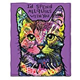 Dean Russo 9 Lives Cat Fleece Throw Blanket
