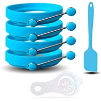 All Prime Non Stick Silicone Egg Ring 4-Pack –Also Included ($9 Value) FREE Egg Separator Tool & Egg Spatula - Egg Ring- Egg Mold - Egg Rings for Frying Eggs - Pancake Rings - Pancake Mold