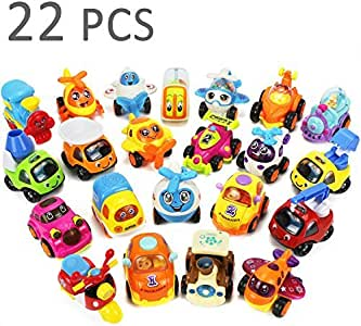 22 Vehicles Toy Play Set, Push and Go Cars, Construction Dump Trucks, Trains, Planes, Christmas Stocking Stuffers Gifts for 1, 2, 3, 4 Year Olds, Baby, Infant, Kids, Toddlers, Boys, Girls