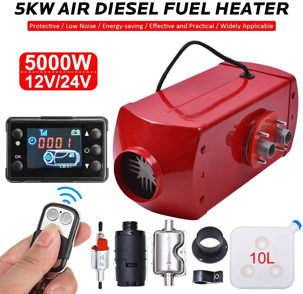 lolly-U 12V 5000W Air Diesel Heater Parking Heater 10L Tank Remote Control LCD Display For Truck,Boat,Car Trailer,Touring car,Campervans Motorhomes Caravans Black red