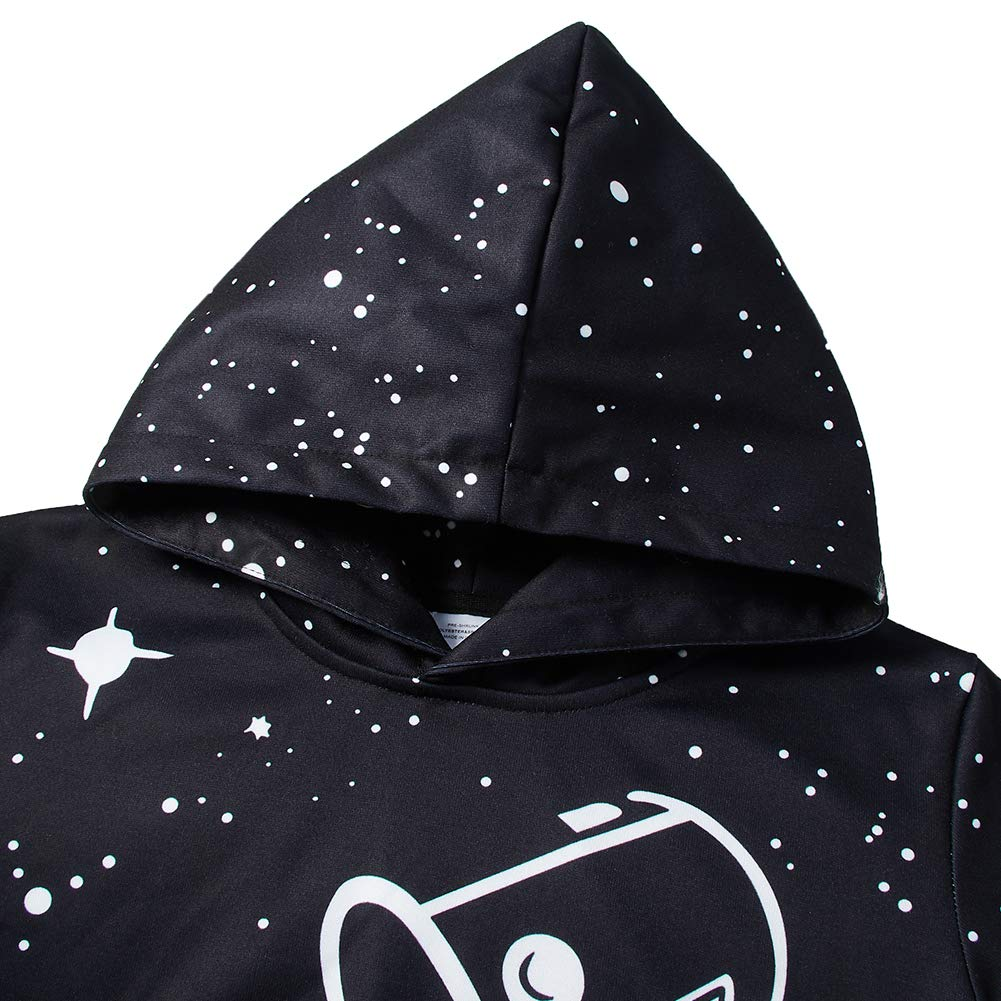Boys and Girls Black Milk Cup 3D Hoodies Men Pullover Funny Graphic Animal Sweatshirts Fleece Hoody XXL