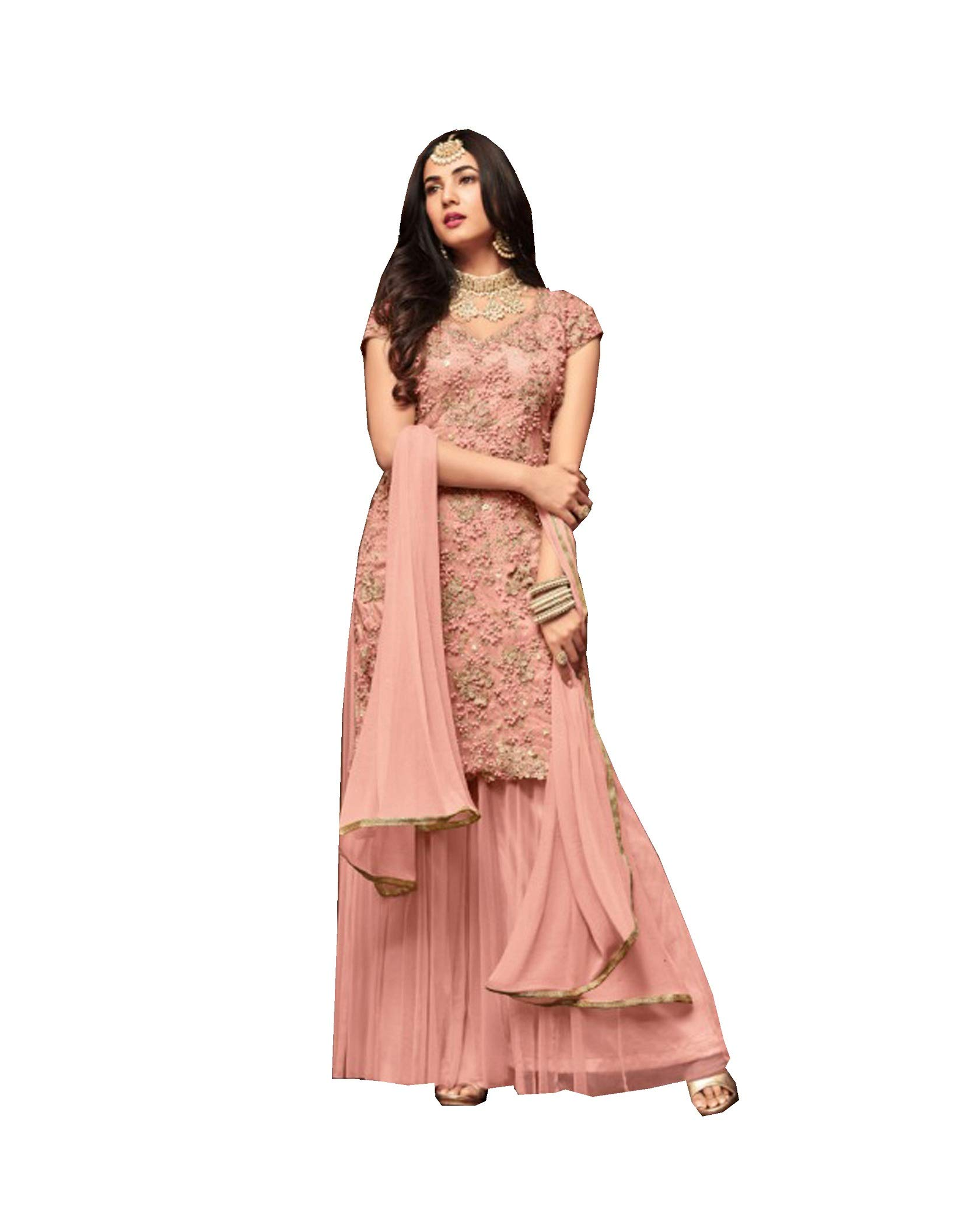 Indian/Pakisatani Ethnic wear Straight Salwar Kameez SHARARA Style Maisha 1105 (Peach, XL-44)